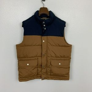 Old Navy Man Vest Quilted Brown Navy Blue Sz: L